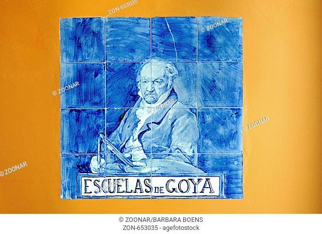 Darstellung, spanische Kacheln, azulejos, Francisco de Goya, Maler, Geburtshaus, Museum, Geburtsort, Fuendetodos, Aragon, Kastilien, Spanien, Europa