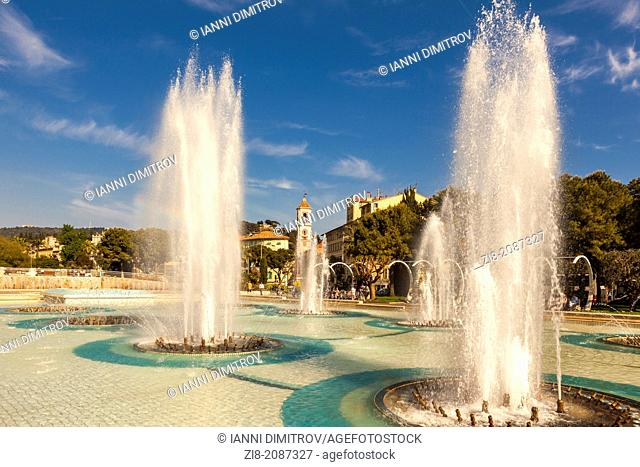 Place Massena fountains in the summer,Nice,Cote D'Azur,The French Riviera,France