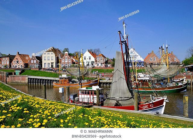 shrimp boats in the fishing port of Greetsiel, Germany, Lower Saxony, East Frisia, Greetsiel