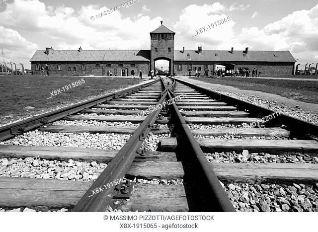 Railway in Auschwitz II Birkenau nazi concentration camp, Poland