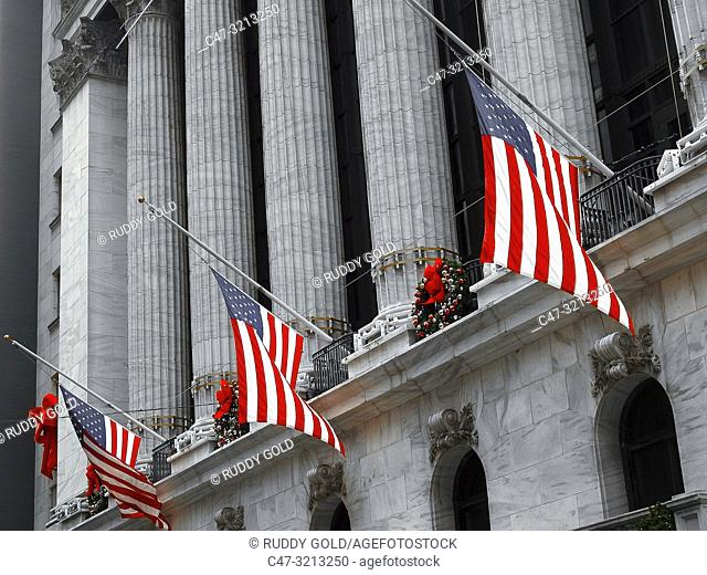 The New York Stock Exchange (NYSE, nicknamed 'The Big Board') is an American stock exchange located at 11 Wall Street, Lower Manhattan, New York City, New York