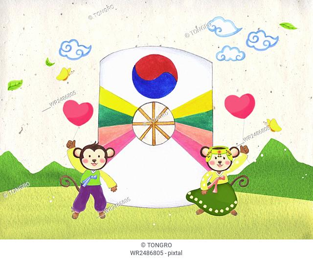New year 2016 with monkeys in traditional Korean clothes holding heart balloons and traditional Korean kite