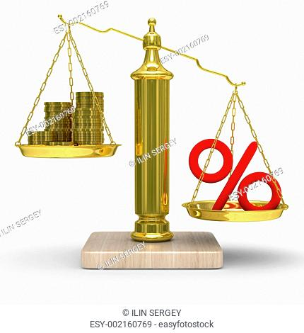 Cashes and percent on weights. Isolated 3D image