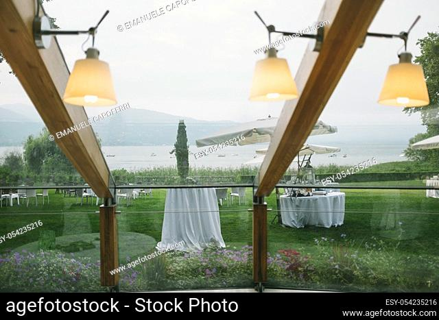 Veranda overlooking the lake, Lake Maggiore, Italy