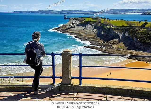 Playa de Mataleñas , Cabo Menor, Santander, Cantabria, Spain, Europe