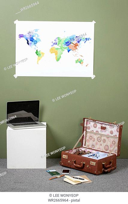 Objects representing global business trip