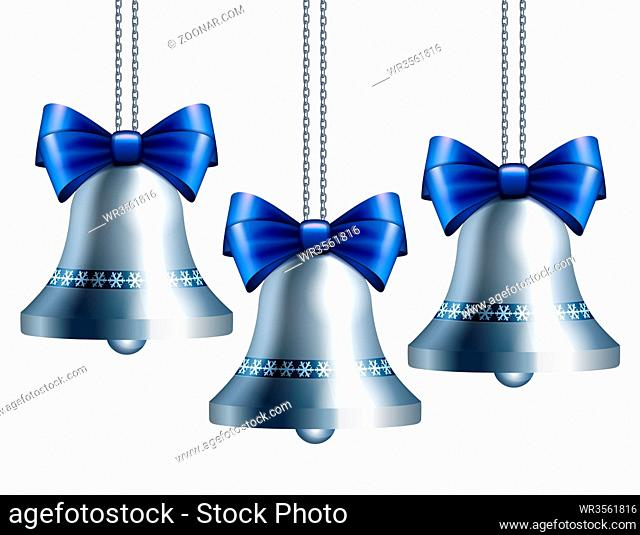 Silver bells with blue ribbon hanging on silver chains. Vector illustration