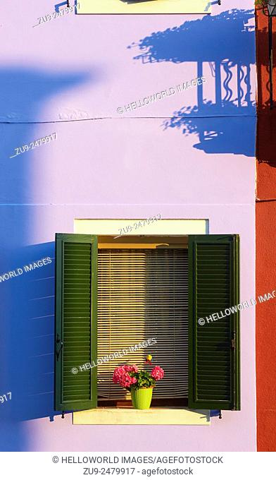 Colourful painted house and shadows, Burano, Venetian Lagoon, Veneto, Italy, Europe
