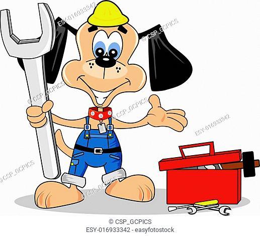 cartoon dog diy repair man