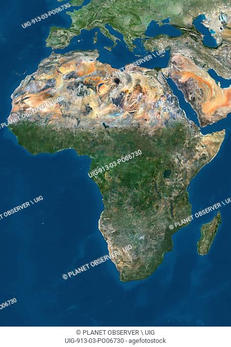 Satellite view of Africa. This image was compiled from data acquired by Landsat 7 & 8 satellites