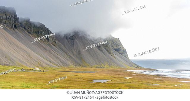 Viking village (cinematographic reconstruction). Stokksnes. Hornafjordur. Iceland of the east