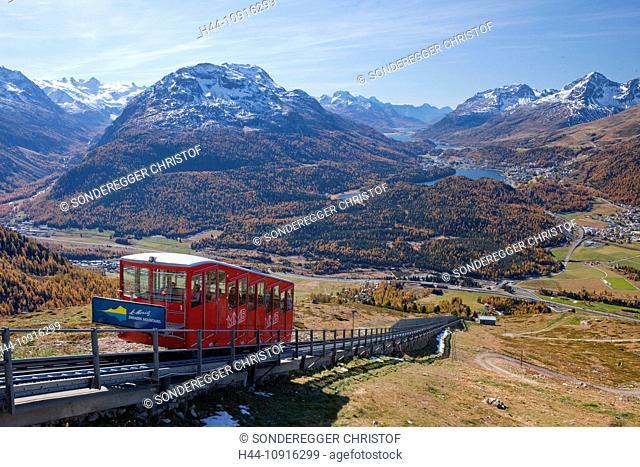 Autumn, canton, Graubünden, Grisons, Switzerland, Europe, mountain, mountains, Engadin, Engadine, Upper Engadine, tourism, holidays, mountain railway