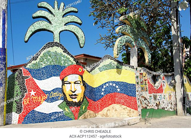 Fusterlandia, Jaimanitas, Havana, Cuba. A creation of Jose Fuster, a cuban artist, painter and sculpture. This mosiac de[icts Huga Chavez abd Fidel Castro