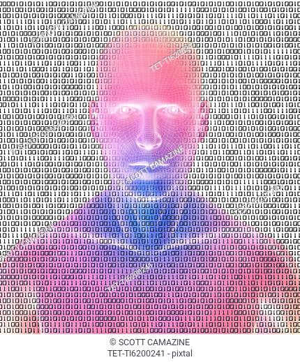 Digitally generated male figure against binary code background