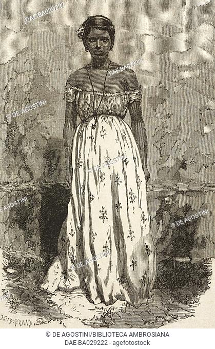 Mamluk woman (Portuguese/Indian mestizo), drawing by Alphonse de Neuville (1835-1885) from a photograph, from A Journey in Brazil, 1865-1866