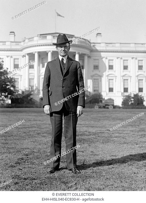 President Calvin Coolidge in full length portrait on south lawn of the White House, 1925. (BSLOC-2015-15-94)
