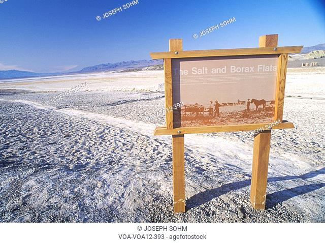 Sign For The Salt and Borax Flats, Death Valley, California