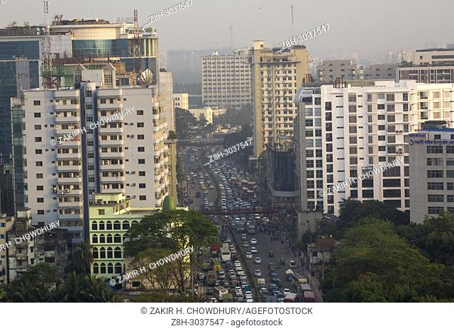 DHAKA, BANGLADESH - APRIL 19 : Busy street in Dhaka, Bangladesh on April 19, 2018. . . At least 4,284 people, including 516 women and 539 children