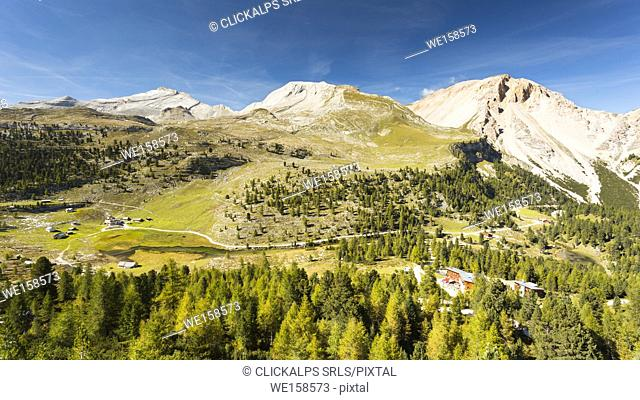a view of the Fanes, Sennes, Prags Natural Park with the Lavarella and Fanes Huts in the background, Bolzano province, South Tyrol, Trentino Alto Adige, Italy