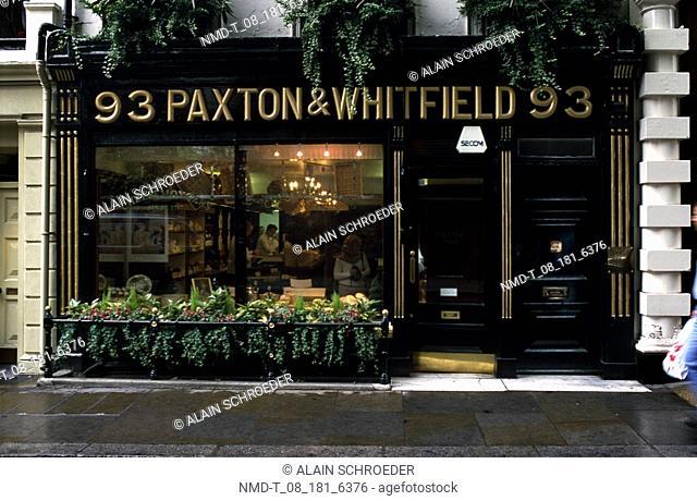 Facade of a shop, Paxton and Whitfield Shop, London, England