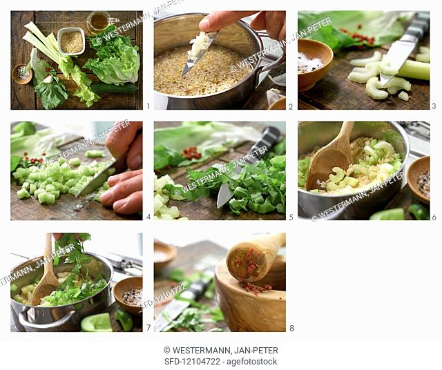 How to prepare a vegetable rice pot with cucumber, cider vinegar and endive