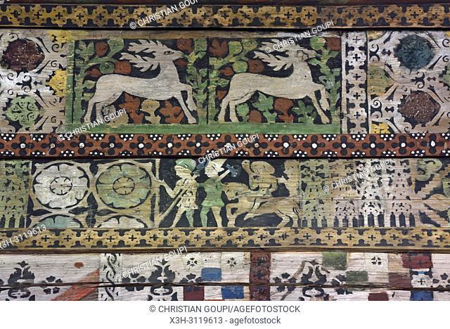 interieur de l'eglise en bois du XV eme siecle a Debno, Comte de Nowy Targ, Province Malopolska (Petite Pologne), Pologne, Europe Centrale/interior of St