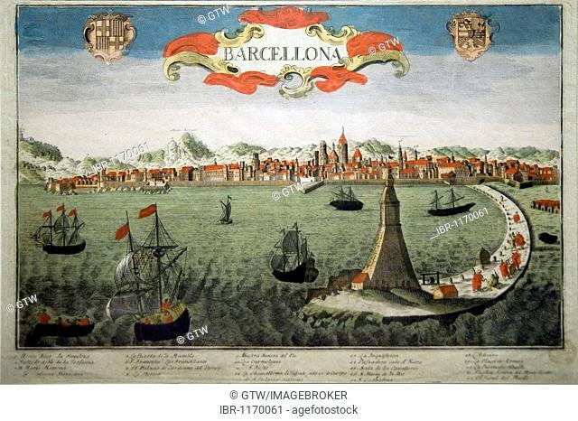 Painting representing Barcelona in 1760, Maritime Museum, Barcelona, Catalonia, Spain, Europe