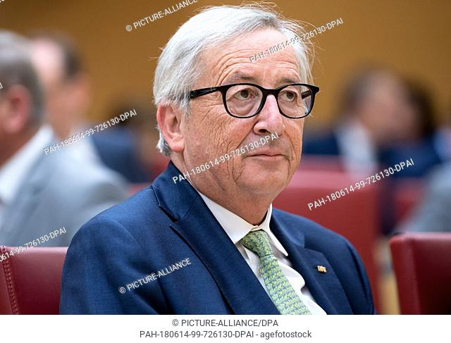 14 June 2018, Germany, Munich: Jean-Claude Juncker, President of the European Commission, sits in the Bavarian Landtag before his speech