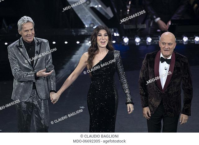 Italian singer and host Claudio Baglioni and Italian hosts and comedians Virginia Raffaele and Claudio Bisio during the fourth evening of the 69th Sanremo Music...