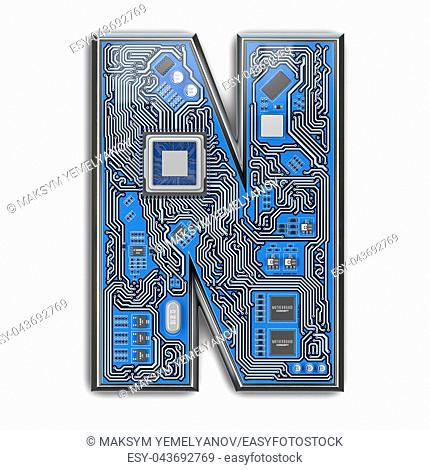 Letter N. Alphabet in circuit board style. Digital hi-tech letter isolated on white. 3d illustration