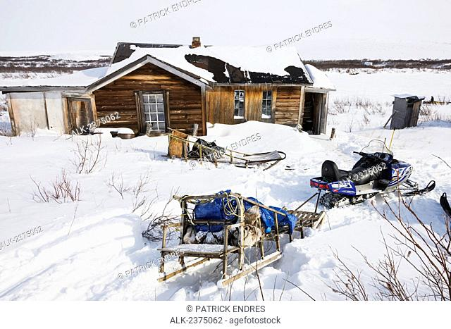 Historic buildings in the ghost town of Candle, Alaska, the halfway checkpoint for the 2008 All Alaska Sweepstakes sled dog race