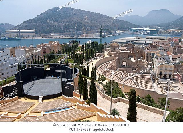 The Roman Theatre of Carthago Nova and Cathedral ruins of Cartagena alongside Cartagena's modern Amphitheatre in the region of Murcia, Spain