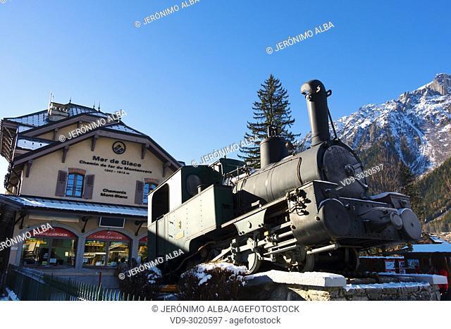 Steam Engine From Cog Rail Line On Display. Train Station Chamonix Montenvers, Mer De Glace. Mont Blanc, Auvergne-Rhône-Alpes, department of Upper Savoy