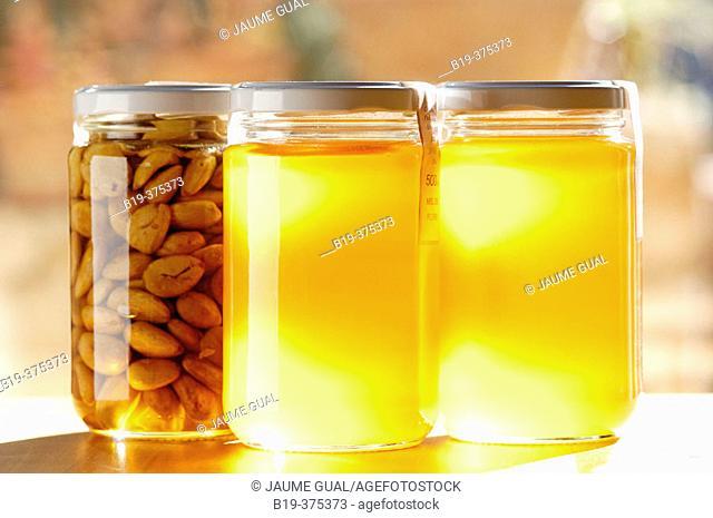 Honey and almonds. Majorca. Balearic Islands. Spain