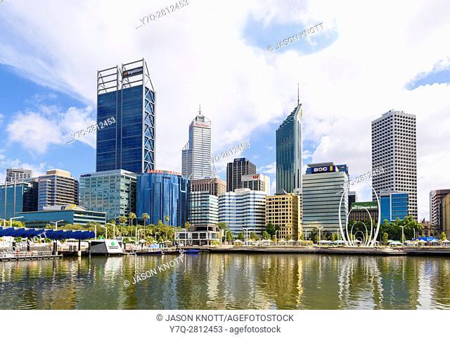Elizabeth Quay and skyscrapers of Perth CBD, Perth, Western Australia, Australia