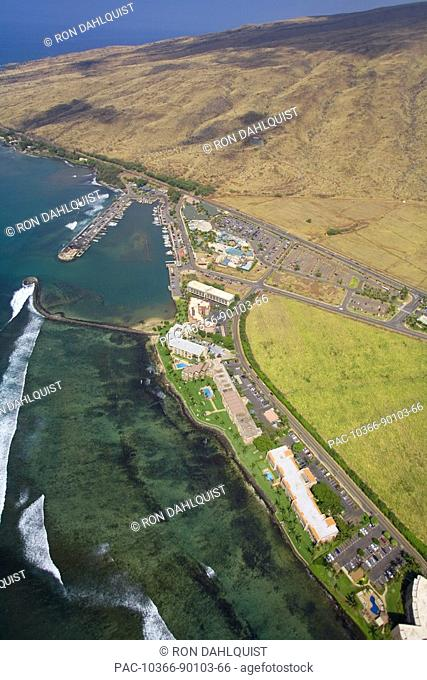 Hawaii, Maui, Maalaea Harbor, Harbor shops, condos and Maui Ocean Center, aerial