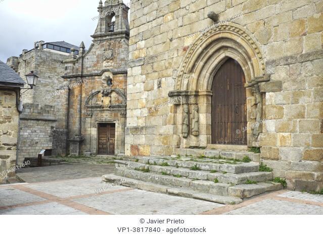 Hermitage of San Cayetano and Romanesque doorway of the church of Nuestra Señora del Azogue. XII century. Puebla de Sanabria. Zamora. Castile and Leon
