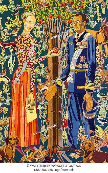 Denmark, Zealand, Copenhagen, Christianborg Palace, The Royal Reception Chambers, tapestry detail featuring Danish Queen and consort