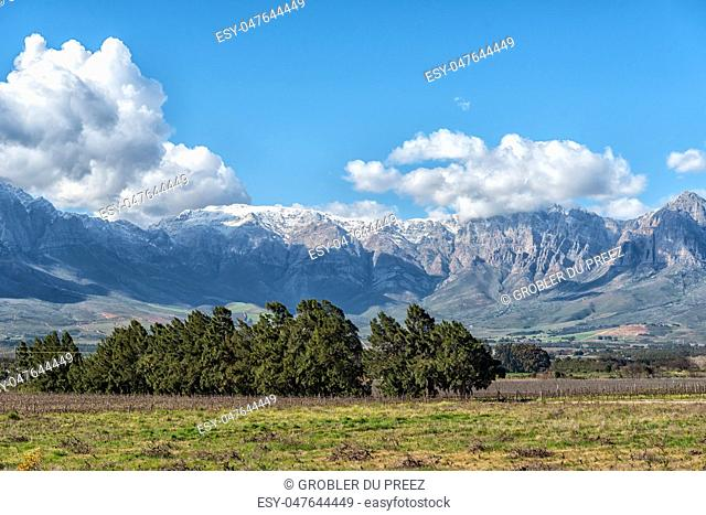 View from the start of the historic Bains Kloof Pass towards the Hex River Mountains in the Western Cape Province. Snow is visible on the mountains