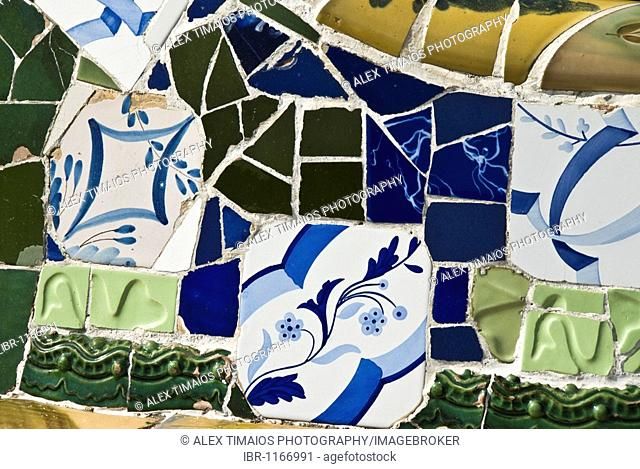 Detail of typical mosaiques in the Parc Guell, famous park by architect Antoni Gaudi, Barcelona, Catalonia, Spain, Europe