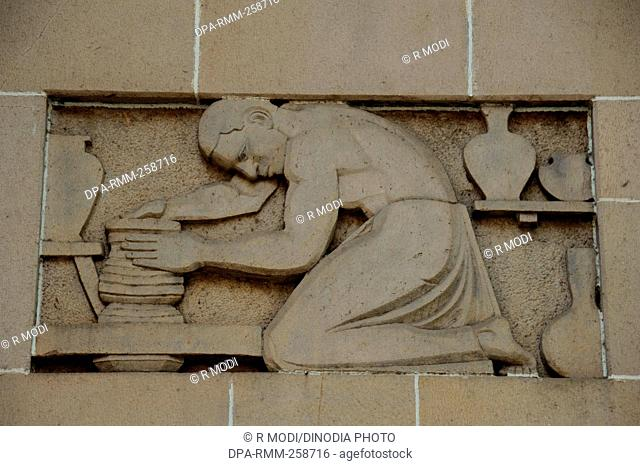 sculpture on New india assurance building, mumbai, maharashtra, India, Asia