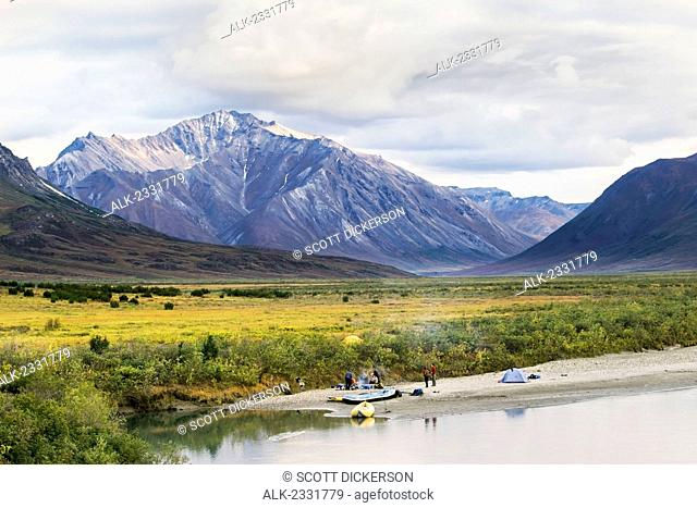 Rafters camping off Noatak River in the Brooks Range, Gates of the Arctic National Park, Northwestern Alaska, above the Arctic Circle, Arctic Alaska, summer