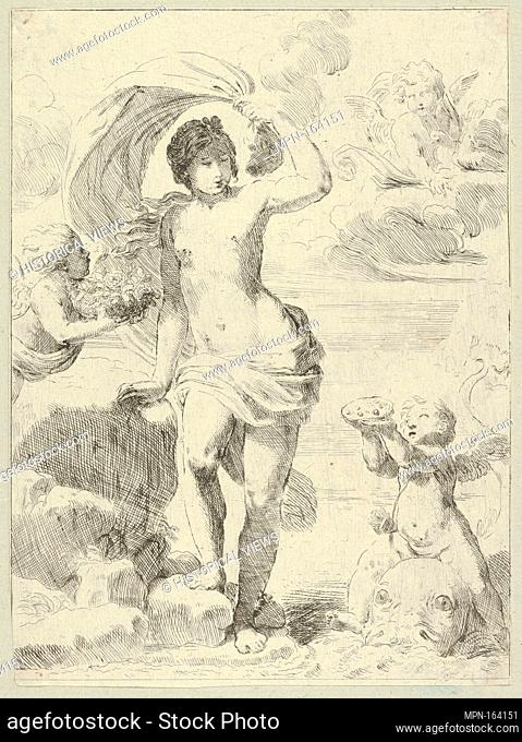 Venus stepping out of the sea, holding a billowing drapery in her left hand, Cupid at right offering pearls while riding a dolphin and a putto at left offering...