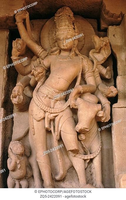 Indian History, Durga temple C 700 AD Shiva with Nandi, Aihole, Karnataka