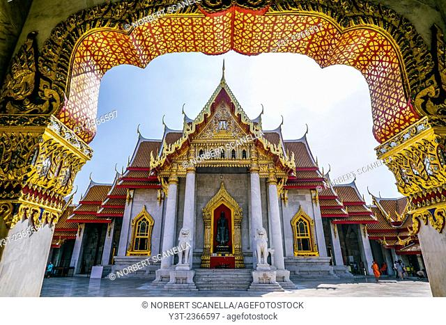 Asia. Thailand, Bangkok. Wat Benchamabophit, Marble Temple