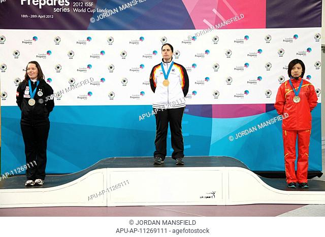 22 04 2012 London, England, Royal Artillery Barracks in Woolwich The London Prepares ISSF World Cup The three winners of the womens 50m Rifle 3 positions Silver...