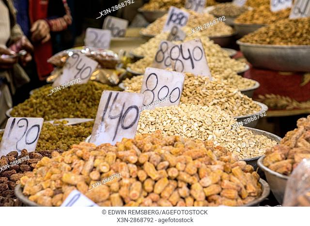 Various nuts and spices on display at the market on Khari Baoli Road in New Delhi, India, Asia's largest wholesale spice market