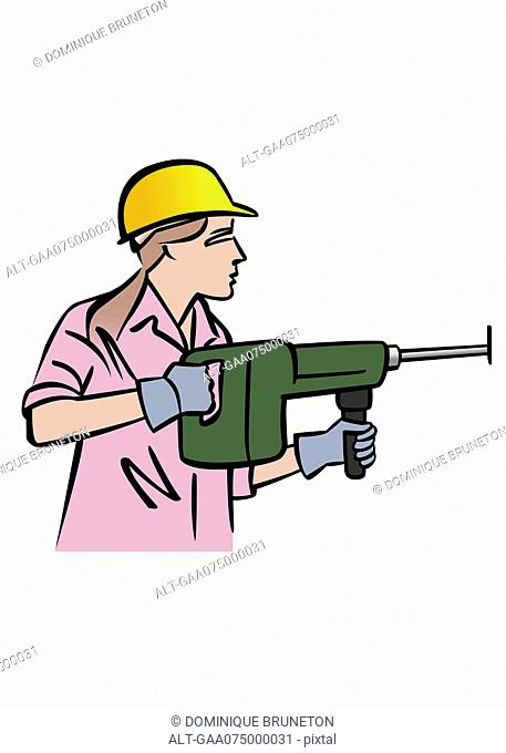 Illustration of female construction worker