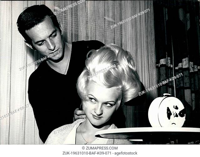 Oct. 10, 1963 - 12 or 14 hours each day.. the exercise in hair dressing of Bernd Gress from Esslingen is lasting. He wants to have a good chance on the European...