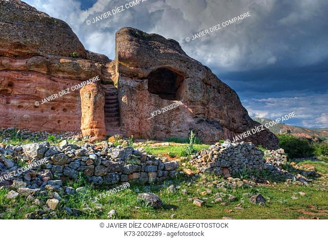 Rock Dwelling. Celtiberian and Roman Archaeological Site of Tiermes. Montejo de Tiermes. Soria Province. Castilla y Leon. Spain